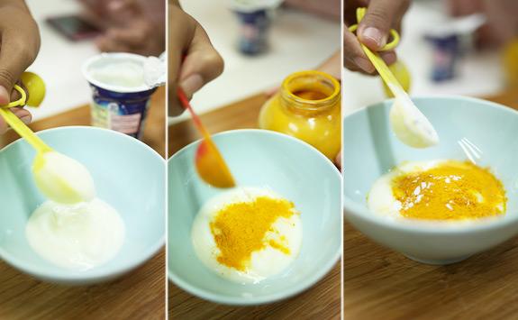 Mặt nạ nghệ sữa chua trị thâm ,trắng da