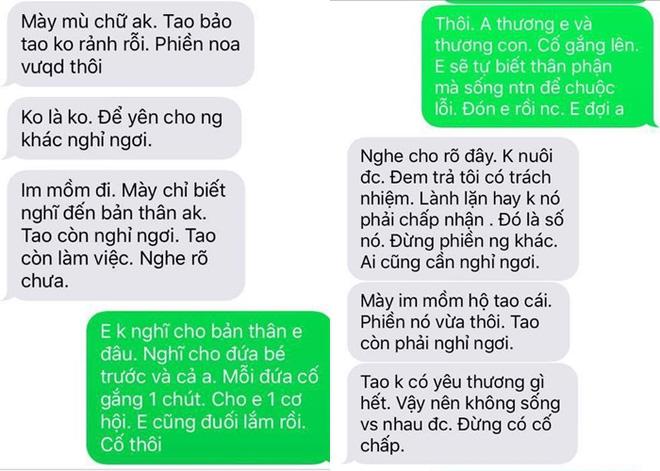 Những dòng tin nhắn phũ phàng với mẹ con T.D