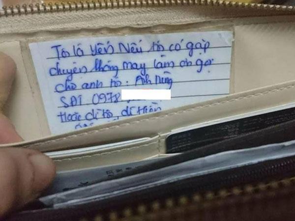 tìm thấy ví sau 30 phút bị mất chỉ nhờ một tờ giấy nhỏ