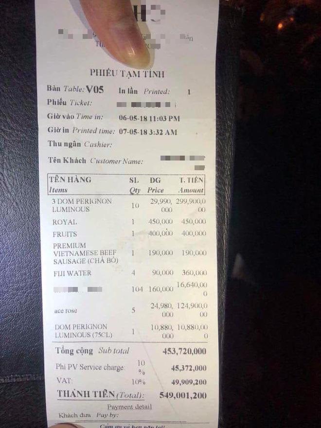 Hóa đơn đi bar hơn 500 triệu
