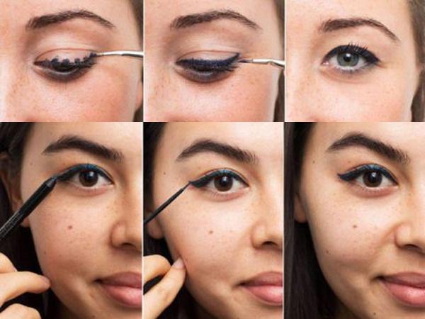 bạn hãy dùng bút chì kẻ mắt viền trước một đường mảnh lên sát mí rồi mới dùng bút kẻ mắt nước tô đậm lên trên