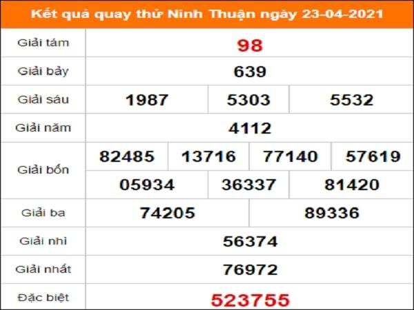 Quay thử kết quả xổ số tỉnh Ninh Thuận ngày 23/4/2021 thứ 6
